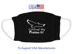 Covered By Psalms 91 -  Made in the USA Reusable Face Mask With Filter Pocket and Nose Wire - Regular Adult Size Black