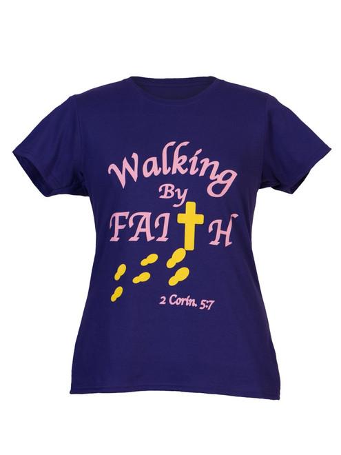 Walking By Faith™ Women's Christian T-Shirt
