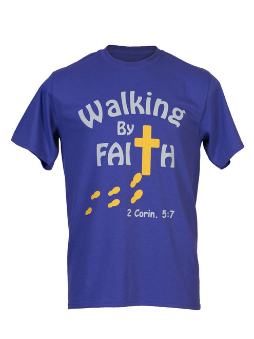 Walking By Faith™ Men's Christian Inspirational T-Shirt - Purple