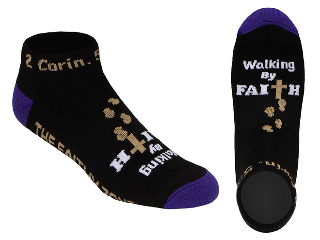 Walking By Faith™ Inspirational Christian Low Cut Socks For Women and Men (Black and Purple)