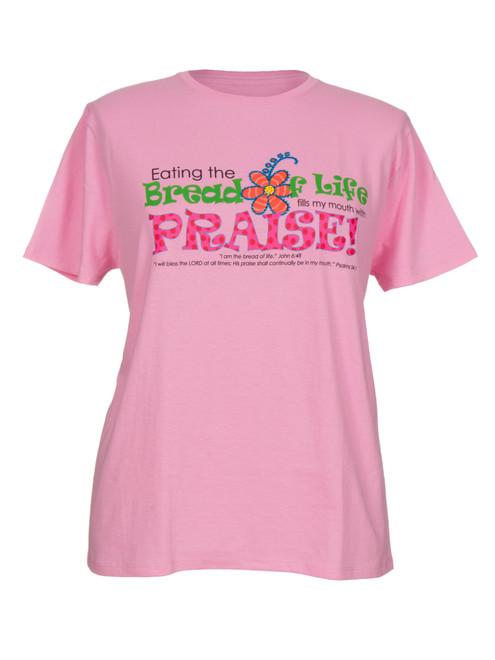 Bread of Life Women's  Inspirational Christian T-shirt  (Pink)