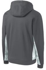 Sport-Tek Sport-Wick Camohex Fleece Colorblock Hooded Pullover (01903-25); Rear; Decoration Type: