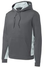 Sport-Tek Sport-Wick Camohex Fleece Colorblock Hooded Pullover (01903-25); Front; Decoration Type: