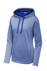 Sport-Tek Ladies Posicharge Sport-Wick Heather Fleece Hooded Pullover (01634-25); Front; Decoration Type: