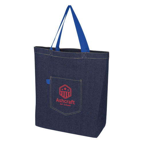 Demi Denim Tote Bag (03261-00); Primary; Decoration Type: Silk-Screen