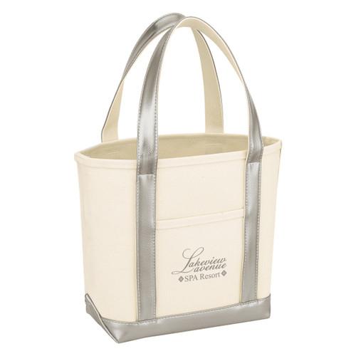 Metallic Accent Heavy Cotton Canvas Boat Tote Bag (03354-00); Primary; Decoration Type: Silk-Screen