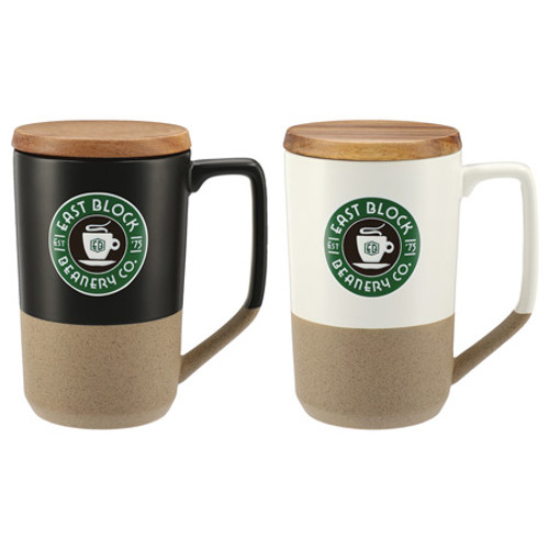 Tahoe Tea & Coffee Ceramic Mug With Wood Lid 16Oz (05389-01)