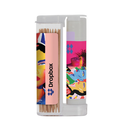 Wooden Toothpicks In A Rectangular Flip-Top Duo With Spf 15 Lip Balm (00398-08); ; Decoration Type: