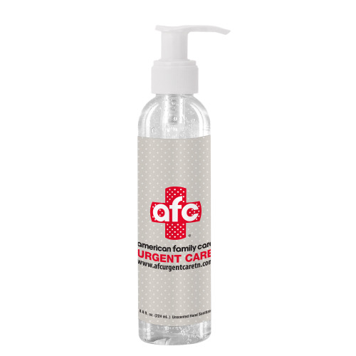 8 Oz Clear Sanitizer In Clear Bottle With Pump (00530-08); ; Decoration Type: