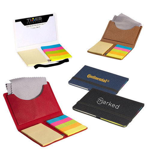 Business Card Sticky Pack With Microfiber Cleaning Cloth (01728-19); Primary; Decoration Type: