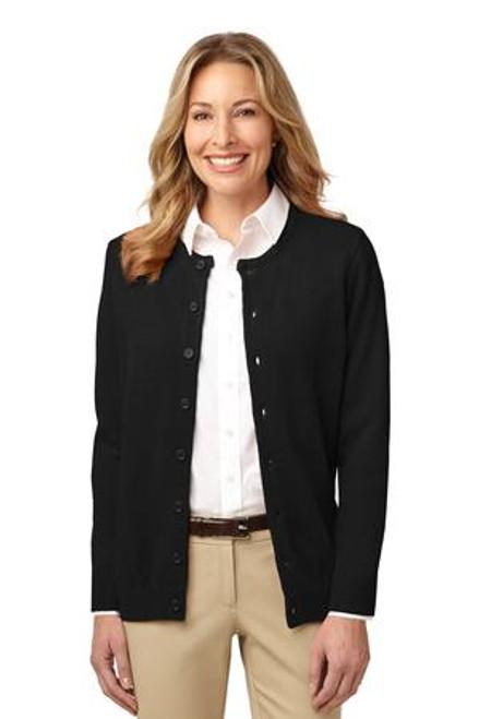 Discontinued Port Authority Ladies Value Jewel-Neck Cardigan Sweater (00417-25); Primary; Decoration Type: