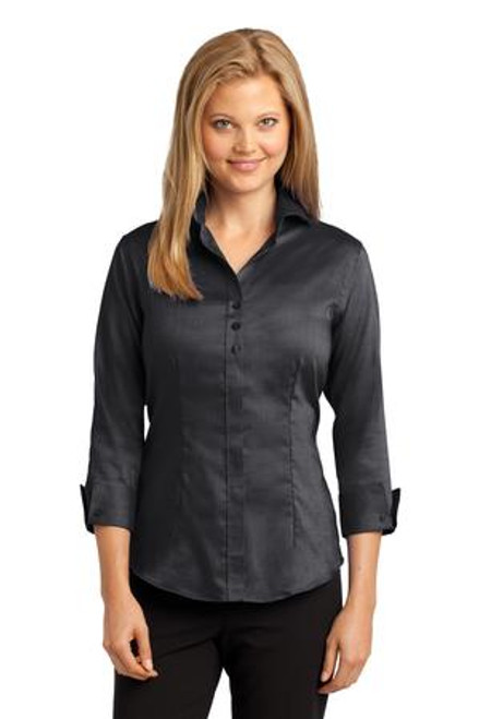 Discontinued Red House Ladies 3/4-Sleeve Nailhead Non-Iron Shirt (01909-25); Primary; Decoration Type: