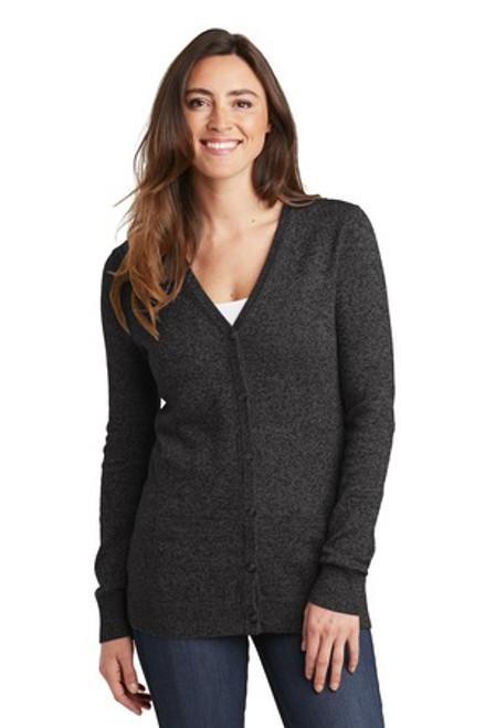 Port Authority Ladies Marled Cardigan Sweater (01707-25); Primary; Decoration Type: