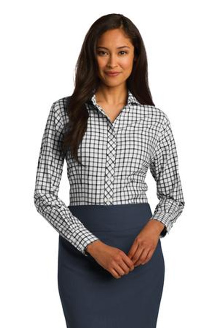 Discontinued Red House Ladies Tricolor Check Non-Iron Shirt (00344-25); Primary; Decoration Type: