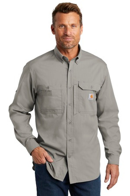 Carhartt Force Ridgefield Solid Long Sleeve Shirt (01600-25); Primary; Decoration Type: