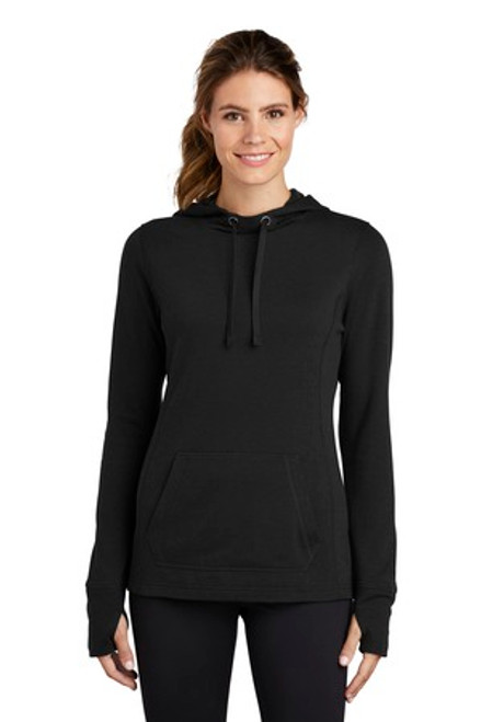 Sport-Tek Ladies Posicharge Tri-Blend Wicking Fleece Hooded Pullover (00550-25); Primary; Decoration Type: