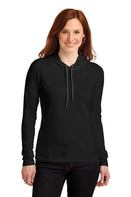 Anvil Ladies 100% Combed Ring Spun Cotton Long Sleeve Hooded T-Shirt (01269-25); Primary; Decoration Type: