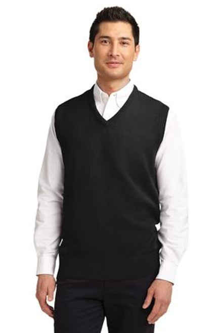 Discontinued Port Authority Value V-Neck Sweater Vest (00111-25); Primary; Decoration Type: