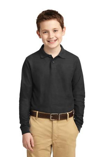 Port Authority Youth Long Sleeve Silk Touch Polo (01030-25); Primary; Decoration Type:
