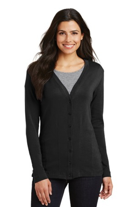 Port Authority Ladies Modern Stretch Cotton Cardigan (01201-25); Primary; Decoration Type: