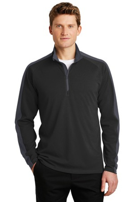 Sport-Tek Sport-Wick Textured Colorblock 1/4-Zip Pullover (01422-25); Primary; Decoration Type: