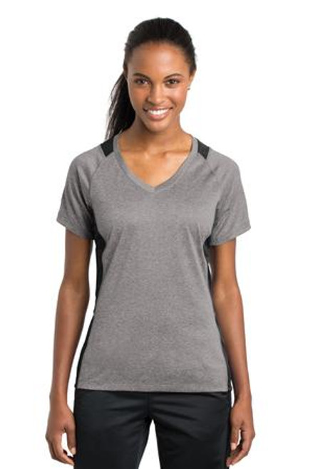 Sport-Tek Ladies Heather Colorblock Contender V-Neck Tee (00172-25); Primary; Decoration Type: