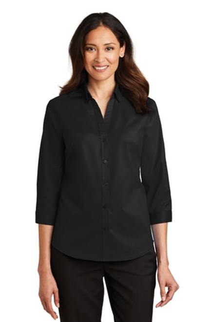 Port Authority Ladies 3/4-Sleeve Superpro Twill Shirt (00553-25); Primary; Decoration Type:
