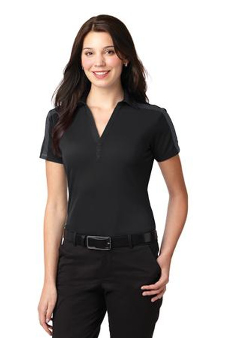 Port Authority Ladies Silk Touch Performance Colorblock Stripe Polo (00080-25); Primary; Decoration Type: