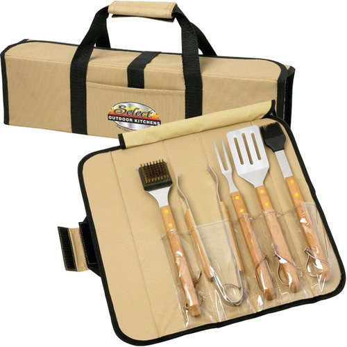 5 Piece Bbq Set (Bamboo) In Roll-Up Case (00009-11); Primary; Decoration Type:
