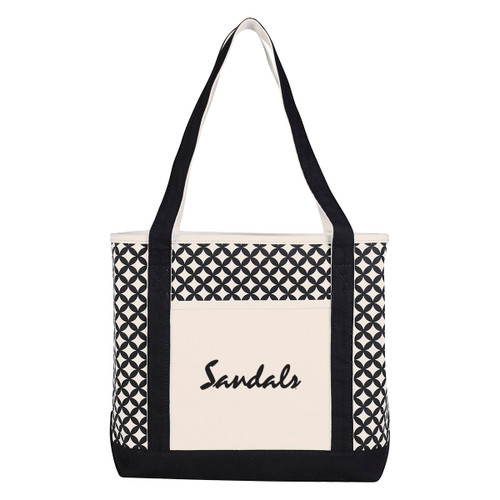 Curved Diamond Canvas Tote Bag (02070-00); Primary; Decoration Type: Silk-Screen