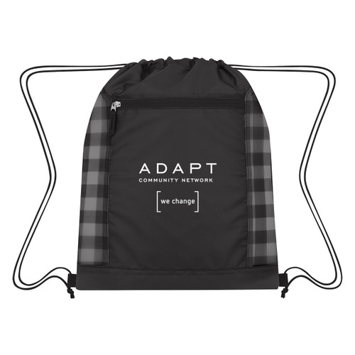 Checkered Mesh Accent Drawstring Bag (02386-00); Primary; Decoration Type: Silk-Screen