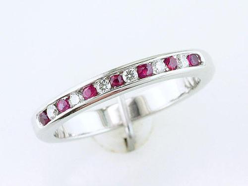 Modern Ruby Gemstone Jewelry Ruby Diamond Wedding Band Anniversary Ring .40ct Platinum July Birthstone