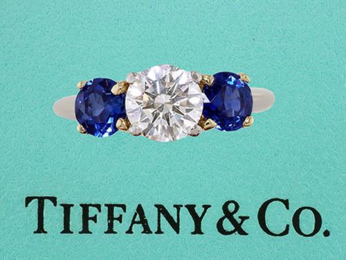 Tiffany & Co. 3-Stone Engagement Ring 2.59ct Diamond Sapphire Platinum