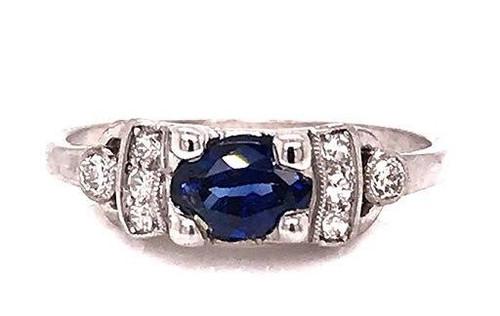 Vintage Sapphire Diamond Engagement Ring .90ct Oval Platinum Art Deco Antique
