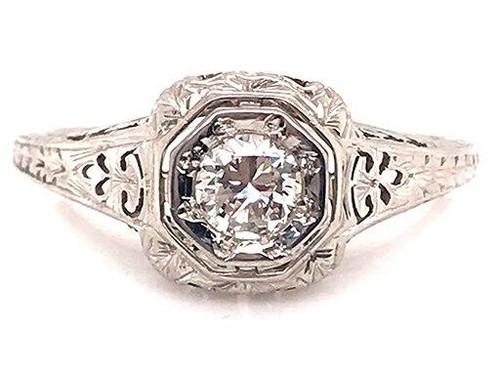 Genuine Antique Art Deco Vintage Diamond Engagement Ring .25ct Transitional Cut 18K Art Deco Antique