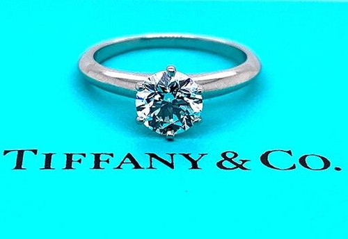 Tiffany and Co Engagement Ring Diamond Solitaire Platinum Certified 1.20ct G-VS1