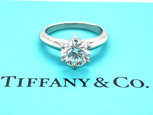 Tiffany and Co Tiffany and Co Engagement Ring Diamond Solitaire Platinum Certified 1.29ct H-VS2