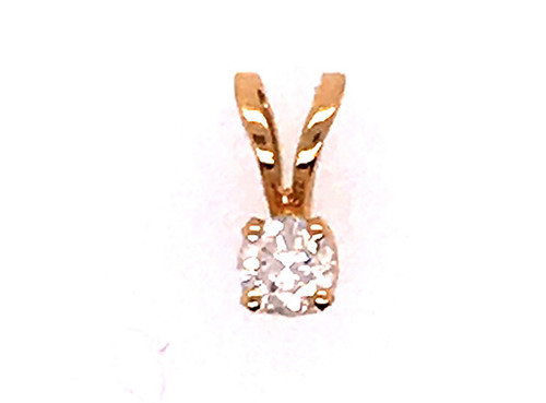 Diamond Necklace Pendant .10ct Solitaire 14K Yellow Gold