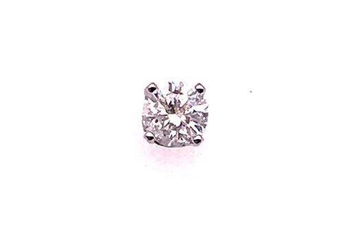 Diamond Single Stud Earring .25ct RBC 14K White Gold