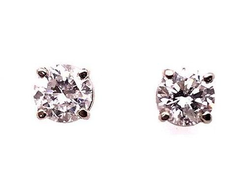 Diamond Stud Earrings .75ct G-H/SI 14K White Gold Round Brilliant