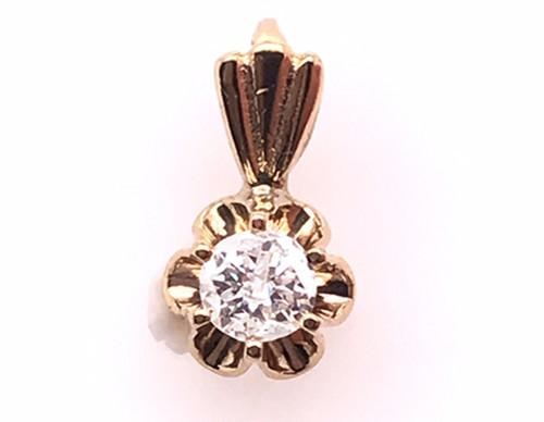 Diamond Necklace Pendant .27ct Buttercup 14K Yellow Gold