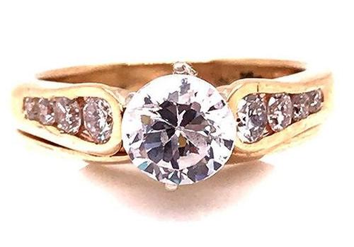 Modern Diamond Jewelry Diamond Semi Mount Engagement Ring Wedding Band Set .45ct F-G/VS 14K Gold