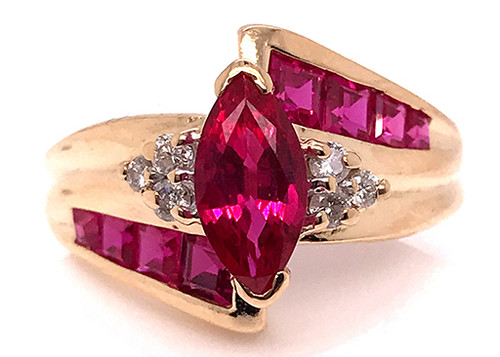 Ruby Diamond Engagement Cocktail Ring 1.60ct Yellow Gold Birthstone