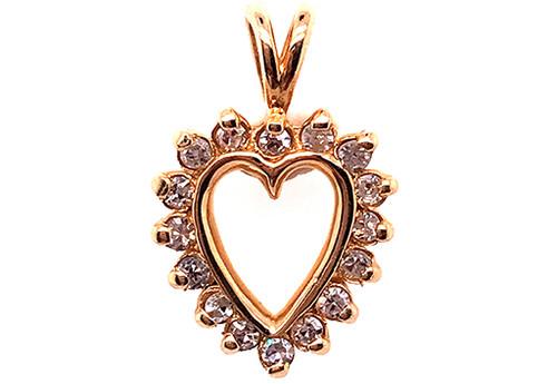 Brand New Diamond Heart Pendant .25ct Cut Necklace 14K Yellow Gold