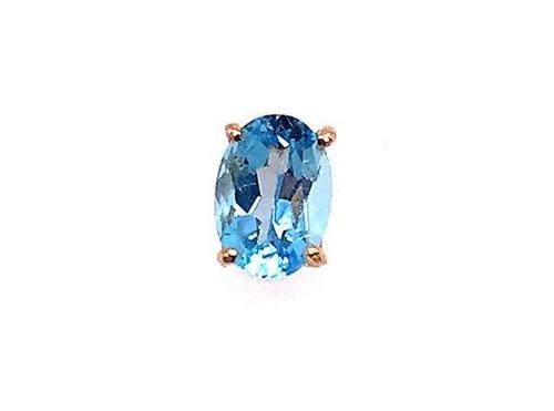 Blue Topaz Stud Single Earring 1.10ct Decemeber Birthstone 14K Gold