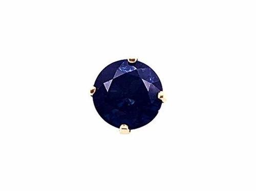 Modern Gemstone Jewelry Sapphire Stud Single Earring .65ct 14K Yellow Gold September Birthstone
