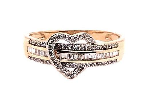Diamond Cocktail Fashion Heart Ring 1ct Statement 14K Yellow Gold