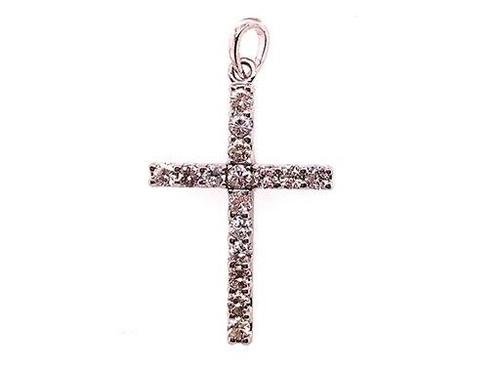 BRAND NEW Diamond Cross Pendant Necklace .75ct 14K White Gold