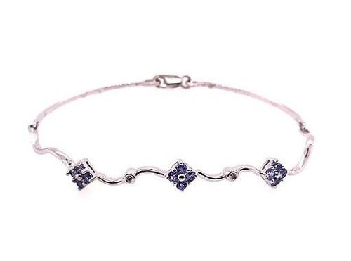 BRAND NEW Tanzanite Diamond Cocktail Tennis Bracelet .75ct 14K Gold