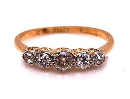 Vintage Diamond Cocktail Wedding Ring Band .40ct 18K Antique Victorian